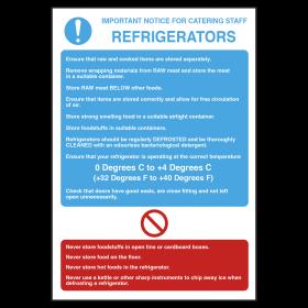 Refrigerators Temperature Guidelines Notice