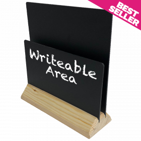 Light Wooden Menu Holders with a Chalkboard