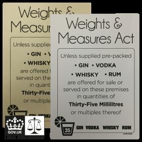 Matt Silver - 35ml Weights & Measures Act - Spirit Measures Bar Notice