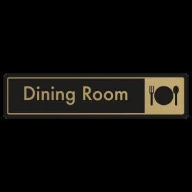 Dining Room Door Sign - Gold on Black