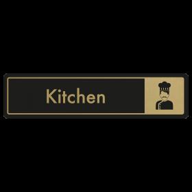 Kitchen Door Sign - Gold on Black