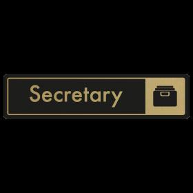 Secretary Door Sign - Gold on Black