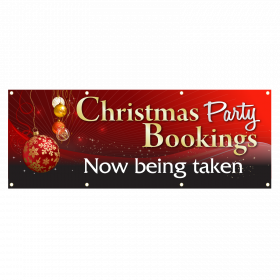 Red Christmas Party Vinyl Banner