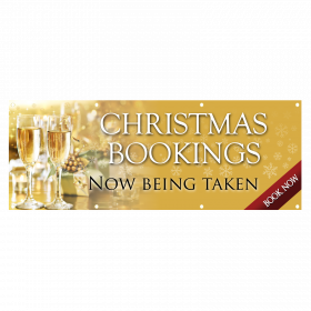 Gold Christmas PVC Banner Party Bookings Now Being Taken