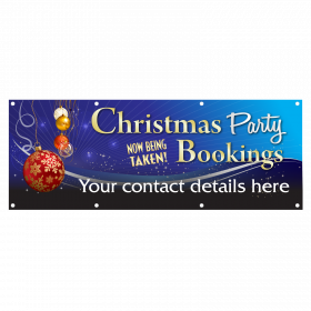 Blue Personalised Christmas Party Banners