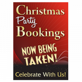 Christmas Party Bookings Now Being Taken Waterproof Poster - Red