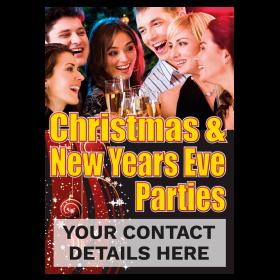 Personalised Christmas & New Years Eve Parties Waterproof Poster