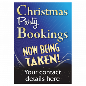 Personalised Christmas Party Bookings Now Being Taken Waterproof Poster - Blue