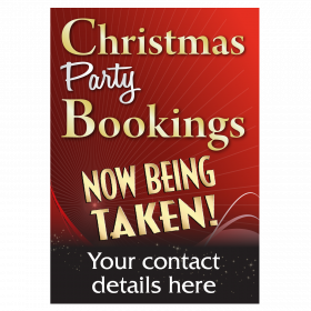 Personalised Christmas Party Bookings Now Being Taken Waterproof Poster - Red