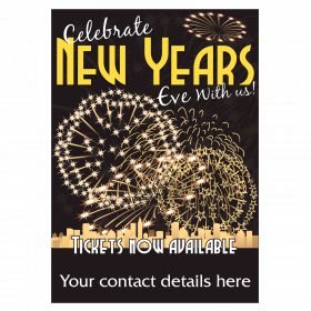 Personalised New Years Eve Tickets Now Available Waterproof Poster