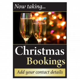 Personalised Now Taking Christmas Bookings Waterproof Poster
