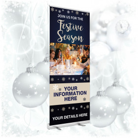 Personalised Join us this Festive Season  roller banner. 850x2000mm