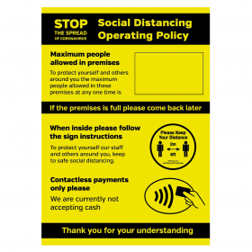 Social Distancing Operation Policy maxiumum people allowed / contactless payments only sign