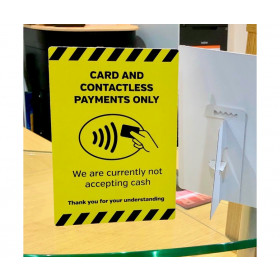 Card & Contactless payments only countertop freestanding sign