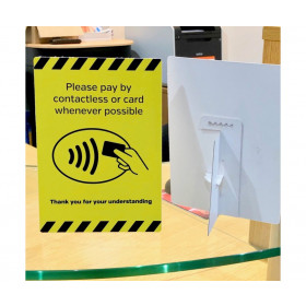 Please pay by contactless card whenever possible countertop freestanding sign