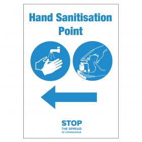 Your nearest Hand Sanitation Point Station arrow left vinyl sticker