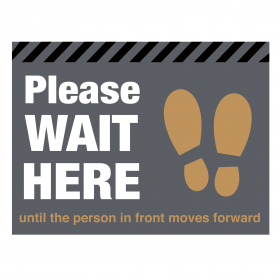 Please wait here with symbol distancing floor graphic