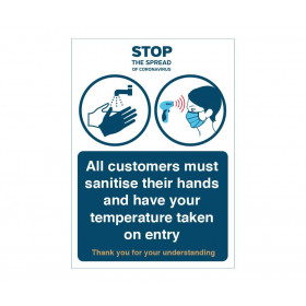 All customers must sanitise their hands and have their temperature taken on entry Sign