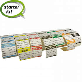 Day of the Week 50mm Food Prep Labels with Acrylic Box Label Dispenser