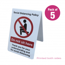 Do Not Sit Here social distancing guidance freestanding tent notice. Pack of 5