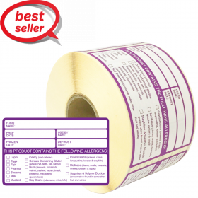 Food Preparation Allergen Warning Labels (500 labels per roll)
