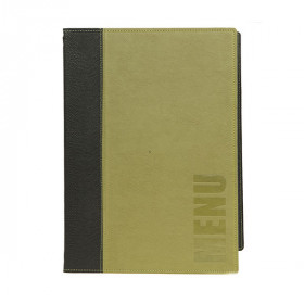 Trendy Green Leather Style A4 Restaurant Menu Holder / Menu Cover