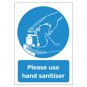 Please use the hand sanitiser provided vinyl sticker