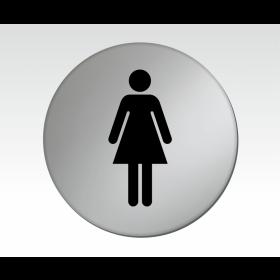 Ladies Symbol Satin Silver Toilet Door Disc