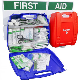 Wall mounted Evolution Catering First Aid & Burns Station, Large (Blue Case)