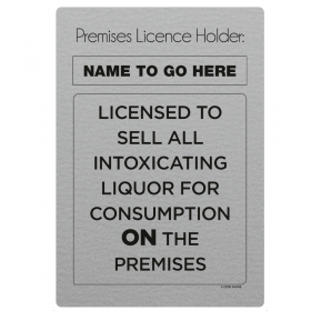 Licensed To Sell Alcohol On The Premises Licensing & Bar Notice