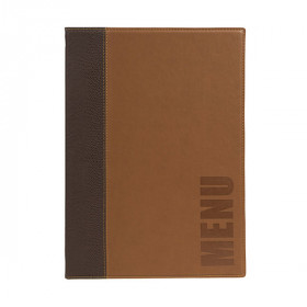 Trendy Light Brown Leather Style A4 Restaurant Menu Holder / Menu Cover