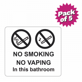 Clear No Smoking or Vaping Bathroom Sticker Pack