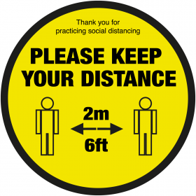 Please keep your distance text & symbol floor sign