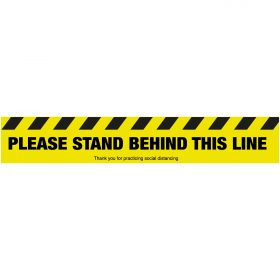 Please stand behind this line floor sign