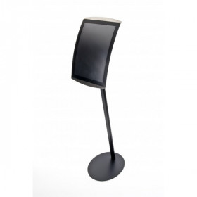 Stainless Steel Black Curved Menu Display Stands / Poster Display Stands