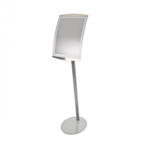 Stainless Steel Grey Curved Menu Display Stands / Poster Display Stands