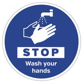 STOP wash your hands floor & wall vinyl sign