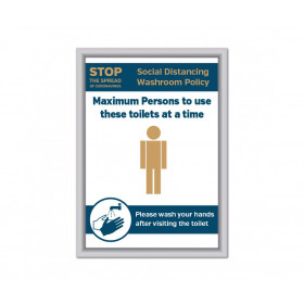 Maximum of 1 person to use these toilets at a time Social Distancing Wall mounted Toilet Sign