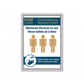 Maximum of 3 persons to use these toilets at a time Social Distancing Wall mounted Toilet Sign