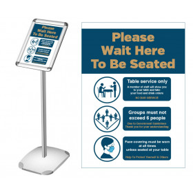 Please wait here to be seated Social Distancing freestanding poster information stand