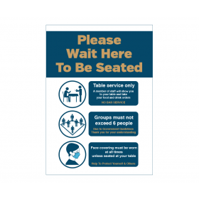 Please wait here to be seated Social Distancing Poster