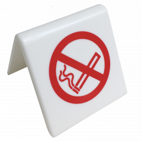 No Smoking Symbol table tent Notice. (Red / White)