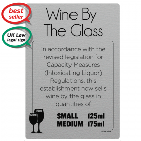 Wine by the glass 125ml & 175ml - Weights & Measures Act Bar Sign