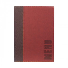 Trendy Wine Red Leather Style A4 Restaurant Menu Holder / Menu Cover