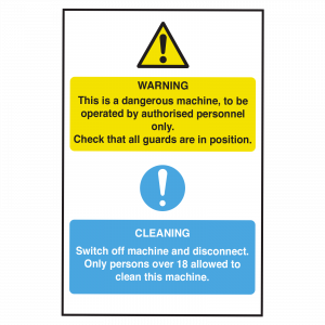 Dangerous Machinery and Cleaning Sign