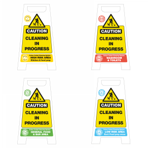 Colour Coded Cleaning in Progress Floor Stands