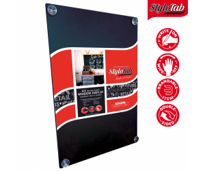 Chalkboard window message board with suction cups. Available in A3, A2 & A1 size