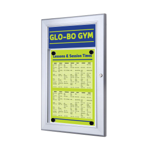 A4 Portrait Lockable Poster Display Cases with Header Panel