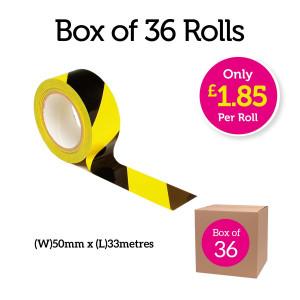 Box of 36 rolls - Yellow and Black Hazard Social Distancing Floor Marking AdhesiveTape