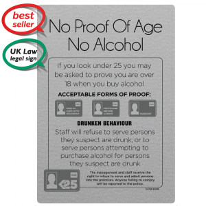 No Proof Of Age, No Alcohol Bar Sign